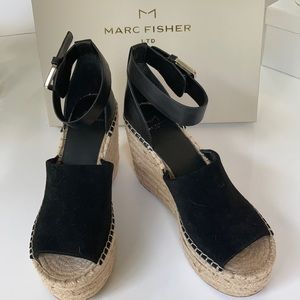 Marc Fisher Black Suede Wedged Sandals, Size 7